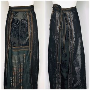 Ohdd Save the Queen Black Tribal Maxi Wrap Skirt